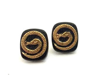 Black Glass Snake Earrings, Raised & Textured Gold Snake Detail, Small Studs, Cool Edgy Style, Silver Findings Vintage Pierced Earrings