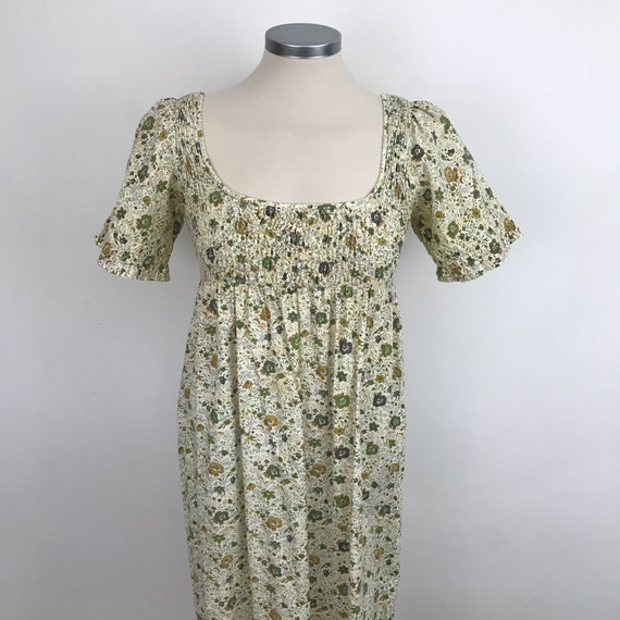 1970s maxi dress prairie style ditsy green floral chintz UK 6 8 petite smocked bodice flower power festival long sundress by Snob