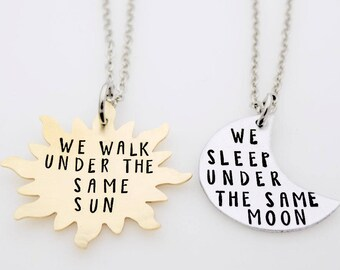 Long Distance, Relationship Couples Set, Long Distance Love, Under the same Moon, Under the same Sun, Going away Gift, Long distance Gifts