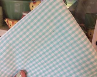 1 Yard Aqua Gingham Fabric