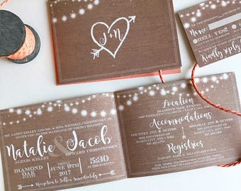Rustic Garden Lights | All-N-One wedding Invitation | Tri-fold with attached RSVP | Deposit to get started