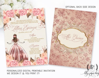 Quinceanera invites etsy rose gold quinceaera invitation quince sweet fifteen mis quince pink and gold solutioingenieria Gallery