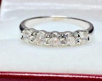 Vintage 5 Stone Diamond Ring l 14KT White Gold 0.95CT Diamond Ring l Anniversary Ring l Multistone Ring