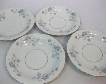 Johann Haviland China Saucers, Dessert Plates, Blue Garland, 4pcs, Bavaria