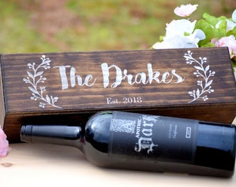 Wine Gift Box - Wedding Wine Box - Wood Wine Holder - Couples Wine Box Personalized Wood Wine Box Wine Box for Anniversary Wine Bottle Box