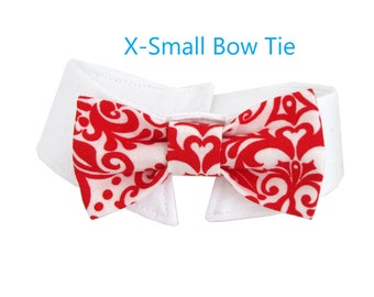 Red Damask Bow Tie, Necktie, or Bow on a Shirt Style Collar for both Dogs & Cats