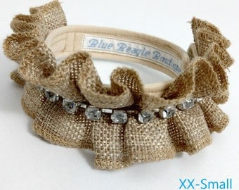 New! Ruffled Burlap and Rhinestone Collar for both Dogs & Cats