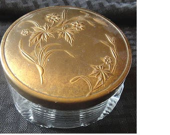 Wonderful ART DECO Glass & Brass Lady's Boudoir Powder Jar or Dresser Box c.1930's (1575)