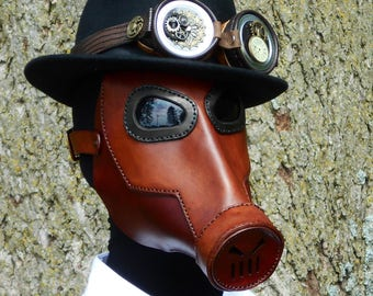 Steampunk Leather Gas Mask Cosplay LARP Apocalyptic Two Tone Brown Costume Halloween Borderlands Dystopia Rising