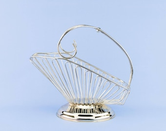 Large Metal Wine Carrier Basket Mid-Century Modern Silver Vintage English Mid 20th Century