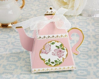 24 Tea Time Whimsy Teapot Favor Boxes bridal Shower Tea Party Favors Lady's Nightout Party Pink or Blue