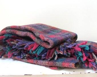 Vintage Wool Blanket by Landau in Berry Plaid, 1980's