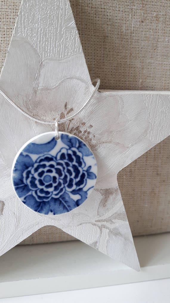 Broken china vintage porcelain pendant.  Silver snake chain.  Unusual pendant.  Floral pendant.  Handmade in Wales UK