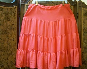 Tiered Coral Color Skirt - Possibly XL / Measurements In Description - Red Dirt Girl - 404