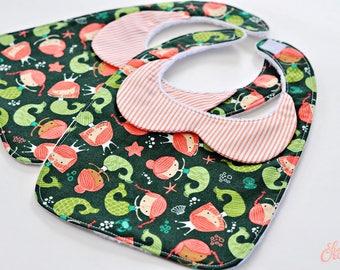 Peter Pan Collar Mermaid Baby Bib, Handmade Baby Bib, Baby Bibs, Mermaid Birthday Party, Baby Shower Gift, Handmade Baby Girl Gift