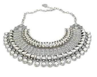 Silver Link Cleopatra Drop Pendant Handcrafted Statement Collar Necklace