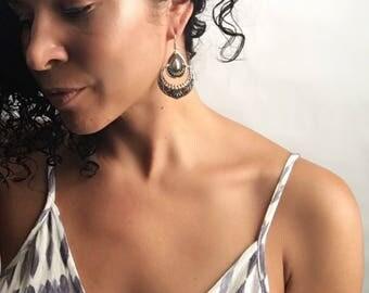 Silver Tribal Gypsy Bohemian Embossed Dangle Earrings