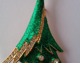 Vintage Unsigned Green/Goldtone/Rhinestone Christmas Tree Brooch/Pin