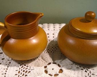 Myott milk jug and lidded sugar bowl tan gold mustard shades