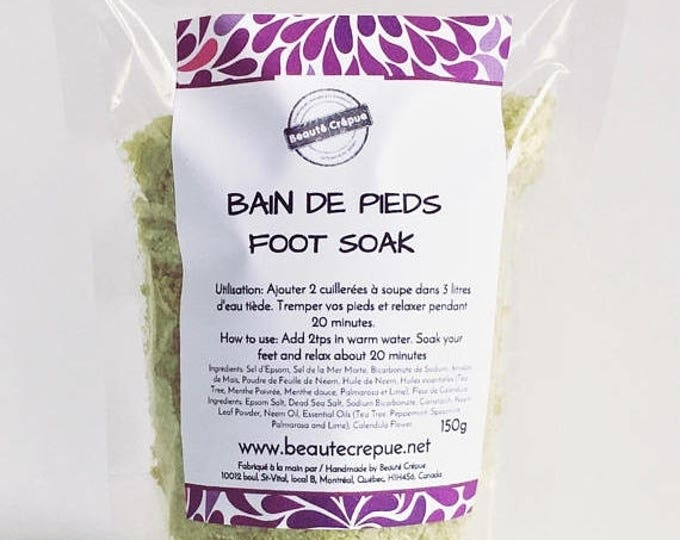 BLACK FRIDAY Purifying and Relaxing Foot Soak with d'Epsom Salt, Dead Sea Salt, Neem and Tea Tree Essential Oil - 150g