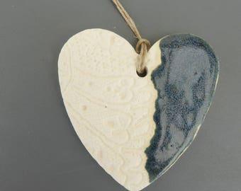 Oil diffuser essential heart #1 blue glazed ceramic