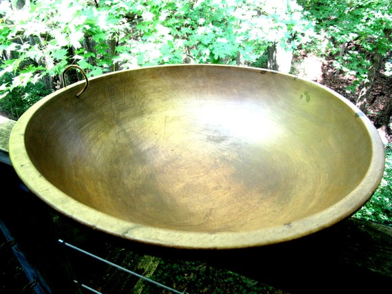 Antique Dough Bowl, 17 Inch Diameter, Large Deep Bowl, Wooden Hanging Dough Bowl, Primitive Rustic Decor,  1910s