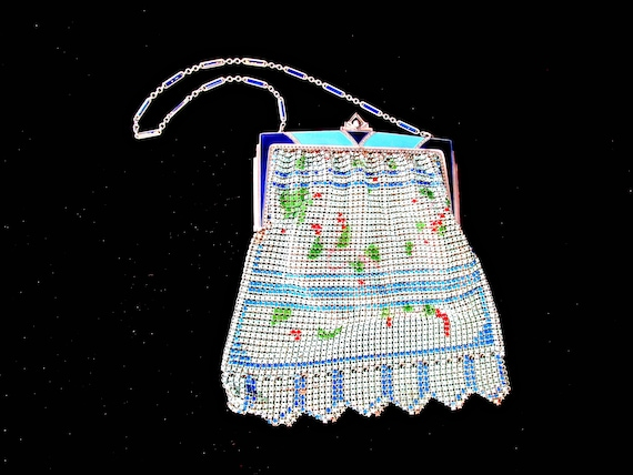 Antique Enameled Mesh Purse, Art Deco Design, Flapper Girl Metal Purse, Blue, Teal, Red, Green, 1920s