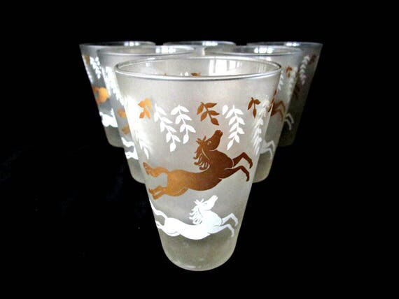 Set of 6 Libby Cavalcade Glassware, Barware, Gold White Horses on Frosted Glass, Gift for Horse Lover, Mid Century Barware
