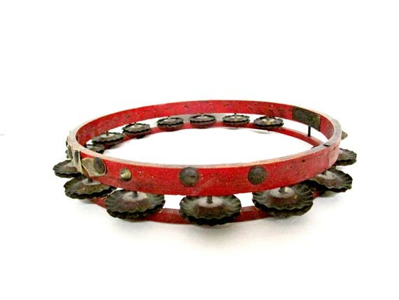 Antique Tambourine, Late 1800s, Pat Pending 1887, Metal Plate Huseus, Red with Double Cymbals All Present, Solid