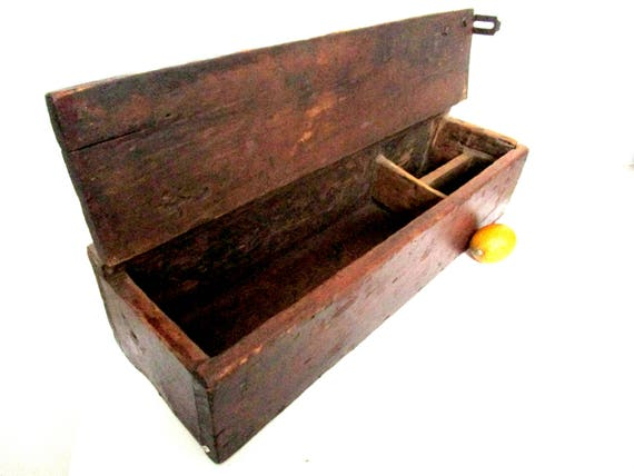 Large Wooden Box, Old Tool Box, Carpenters Tool Box, Heavy Solid Wooden Box, Primitive Rustic Decor