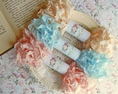 Seam Binding Ribbon / Crinkled Seam Binding / 15 Yards / Shabby Chic Ribbon / Gift Wrap / Baby Pink, Sky Blue, Cameo / Hand Crinkled