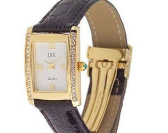 Jackie Kennedy Gold Watch with Black Watchband with Box and Certificate - Plus New Battery