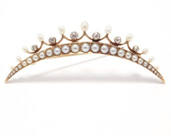 Victorian 14K Natural Pearls & Diamonds Tiara Brooch Dated 1900