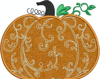Swirly Elegant Fall Halloween Pumpkin Applique  Machine Embroidery Design