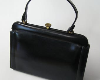 Black leather bag, 1950s-60s vintage Mam'selle handbag, Mad Men classic