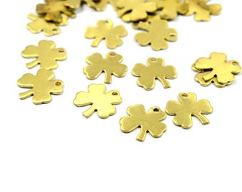50 Pcs. Raw Brass 10 mm Flower Charms Findings