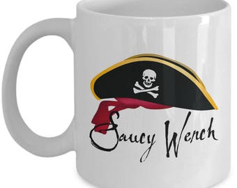 Saucy Wench Pirate Funny Gift Mug Coffee Cup Pirates Caribbean Talk