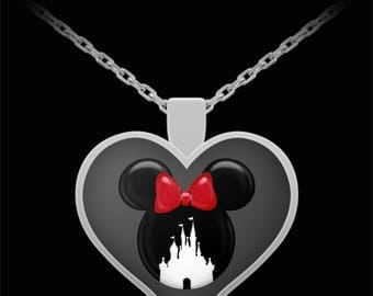 Disney Mickey or Minnie Mouse Castle Love Gift Necklace Disneyland Silver Jewelry