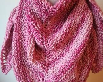 Châle/chèche tricoté main, en laine et acrylique.