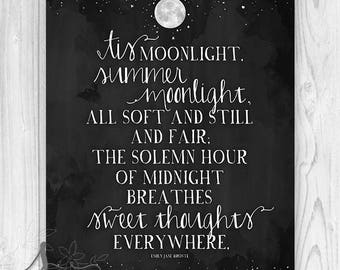 Emily Bronte Summer Moonlight Art Print, Emily Bronte Quote, Emily Bronte Moon Typography Art, Moon and Stars Home Decor