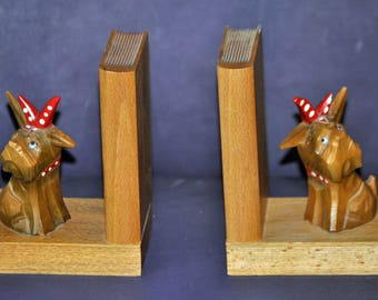 Vintage Carved Wooden Bookends - Little Dogs -  from Drechselstube, Germany