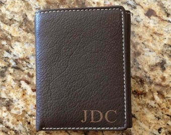 Set of 1 to 12 bulk discount -Groomsmen, Groomsman,  Best Man Gift-Personalized Engraved Genuine Leather Trifold Dark Brown Wallet