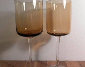 SALE: Retro Amber Wine Glasses