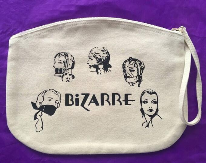 Large box makeup bag/ travel bag/ wash bag, made with organic cotton 100% - Vintage print John Willie front & back
