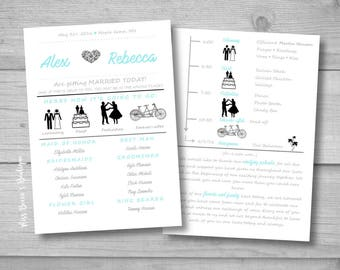 Funny Wedding Programs Instant Download