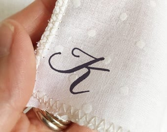 monogram hankie, wedding handkerchief set, father of the bride handkerchief, wedding, printed handkerchief, cotton handkerchief, polka dot