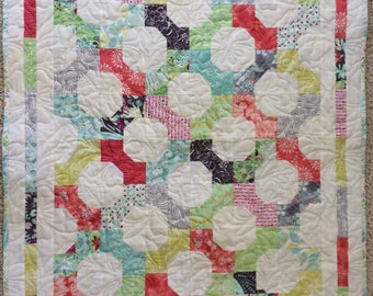 Throw quilt, lap quilt, baby quilt, quilted throw, small quilt, quilt, bow tie quilt.