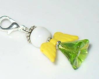 1 pendant angel White, yellow, green 3, 8cm