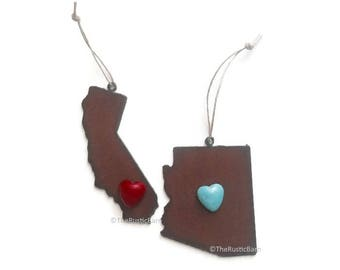 CALIFORNIA ARIZONA Ornament with faux turquoise heart made of Rustic Rusty Rusted