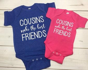 Cousins make the best friends, personalized cousin shirts, best friend youth shirts, infant personalized tshirt, pregnancy announcement